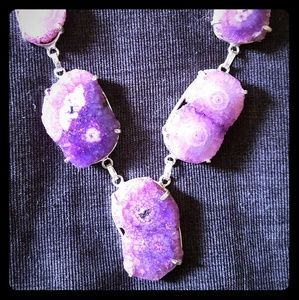 Sterling Silver and Purple Solar Quartz Necklace